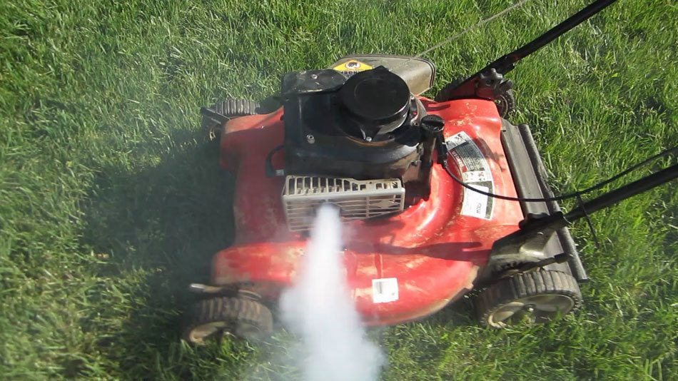 why is my lawnmower blowing white smoke