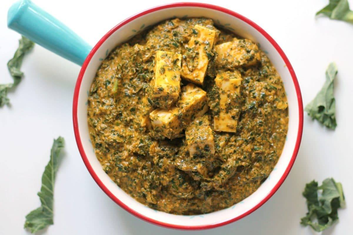 The north style panner kale curry